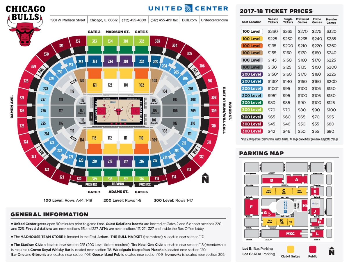Seating diagram of the United Center by ticket prices