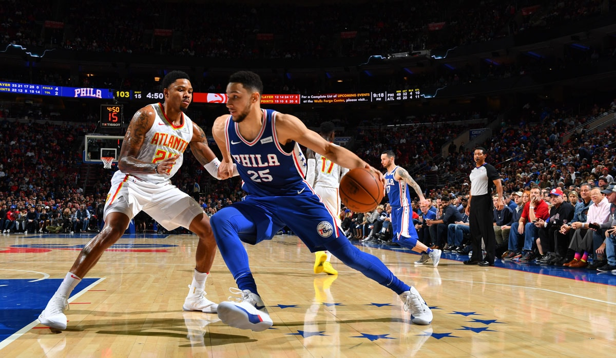 Ben Simmons #25 of the Philadelphia 76ers drives baseline against the Atlanta Hawks at Wells Fargo Center on October 25,2017 in Philadelphia, Pennsylvania