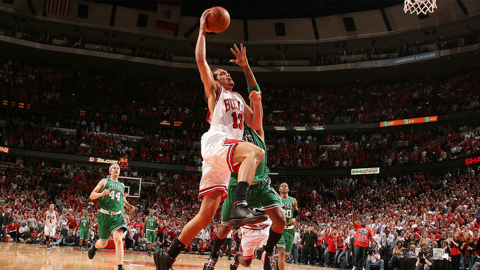 92c4475577f Joakim Noah of the Chicago Bulls dunks against the Boston Celtics in the  2009 Playoffs.