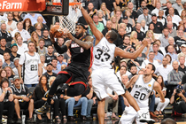 LeBron James takes on the Spurs