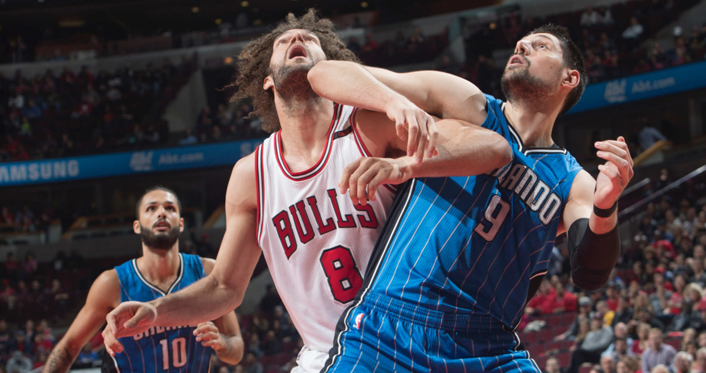 Robin Lopez and Nikola Vucevic fight for position