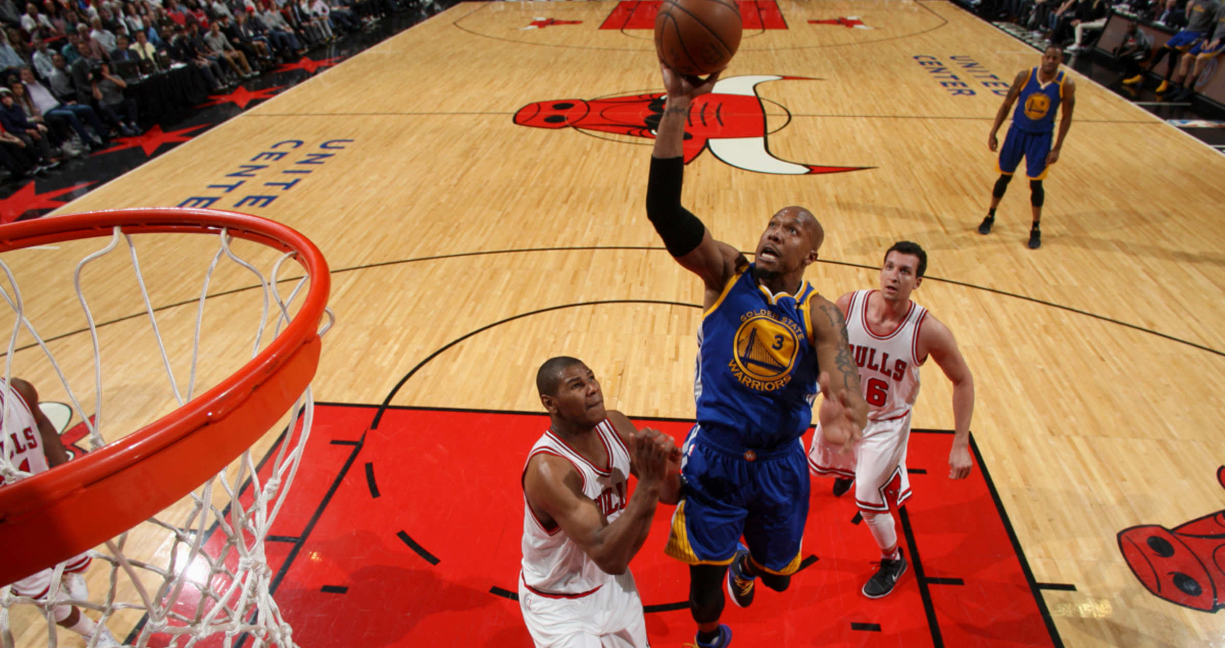 David West #3 of the Golden State Warriors goes to the basket against the Chicago Bulls on March 2, 2017 at the United Center in Chicago, Illinois.