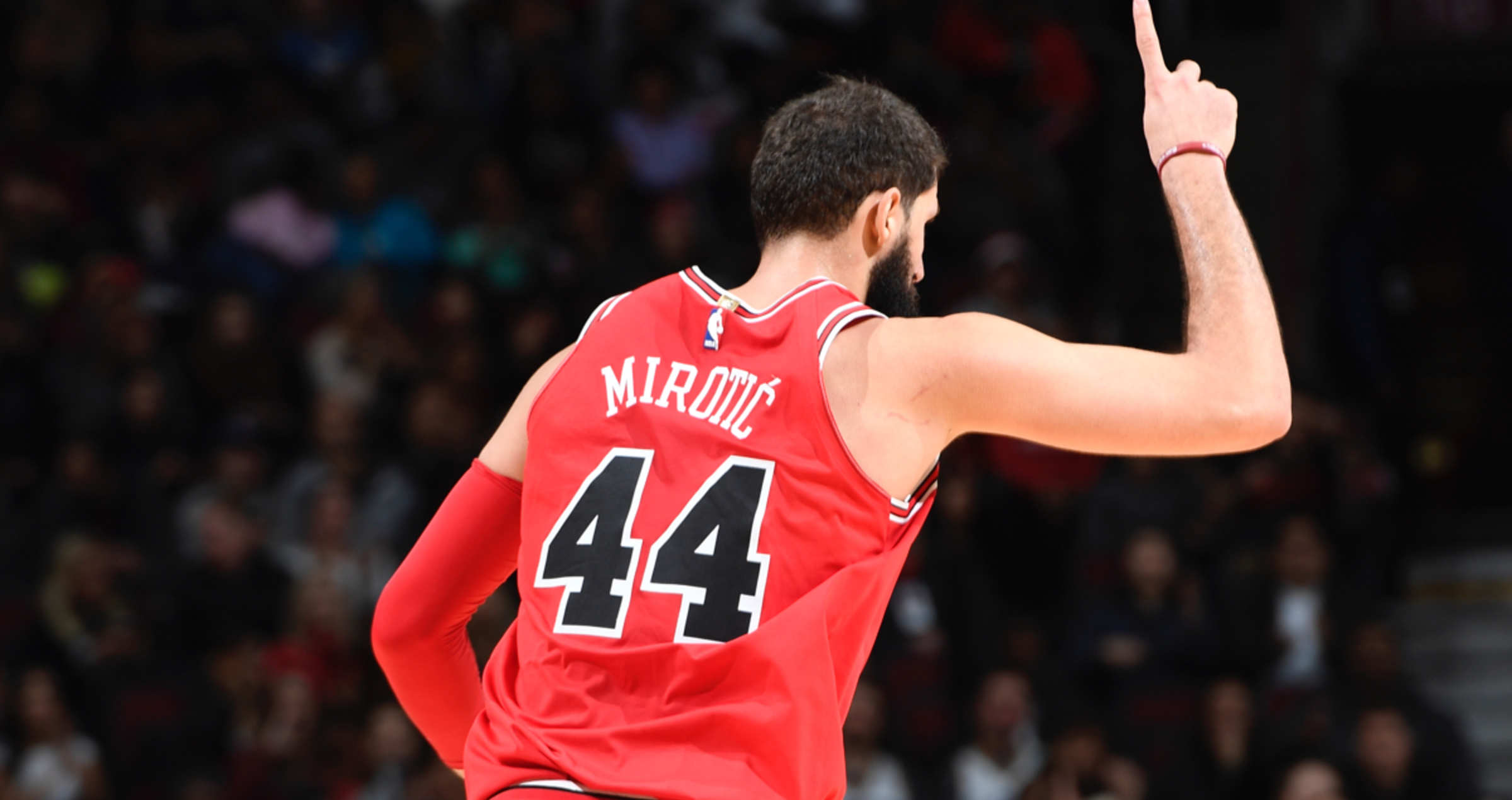 Nikola Mirotic celebrated after hitting a three pointer against the Utah Jazz