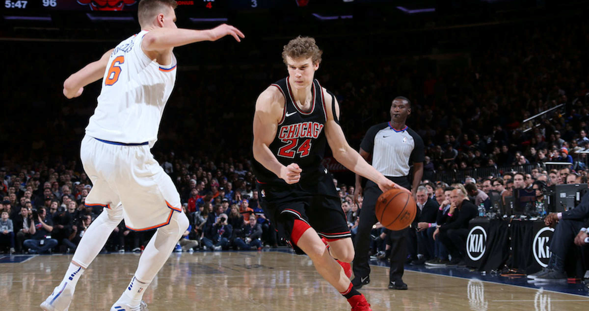 Markkanen drives the ball