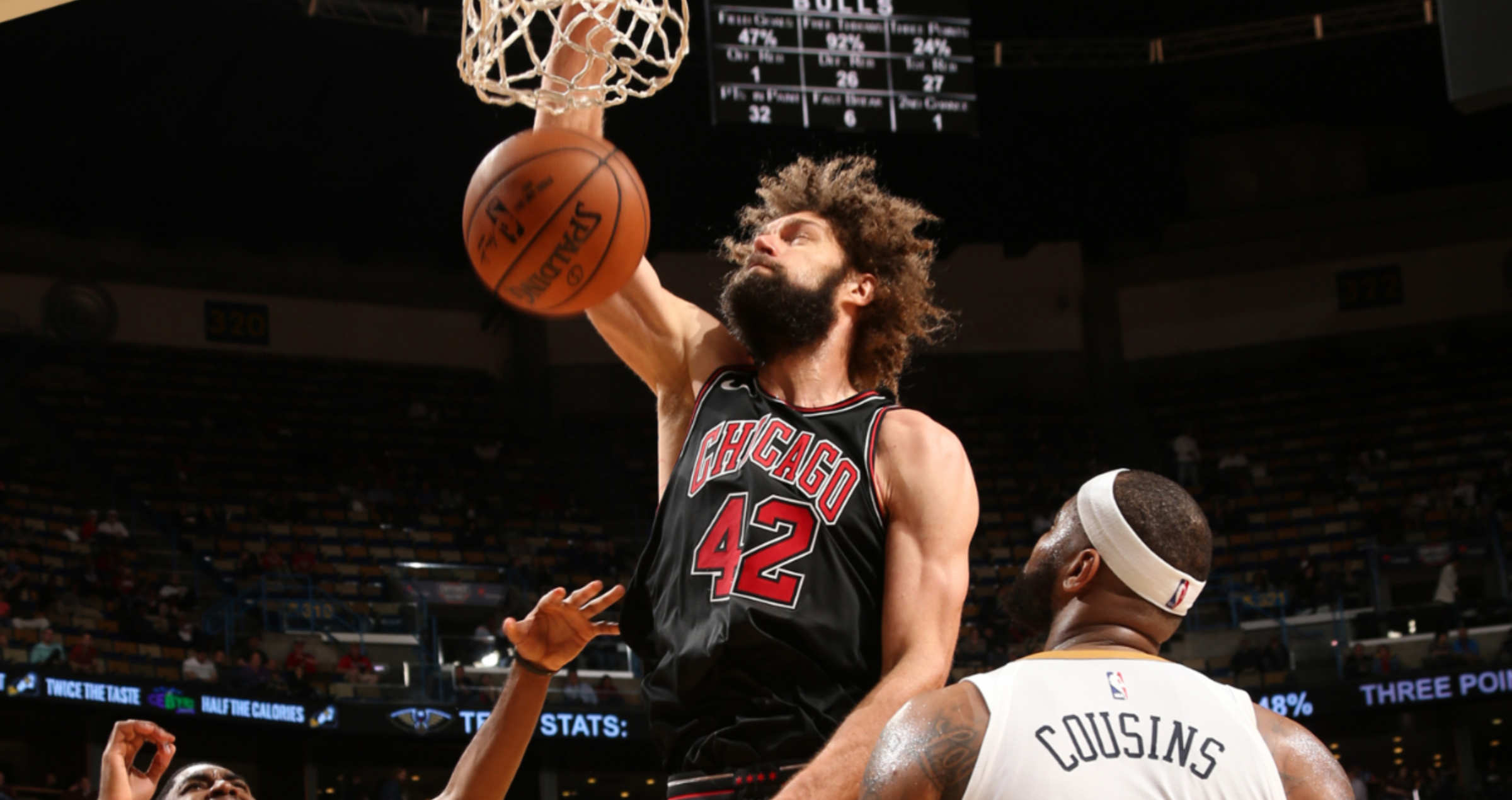 Robin Lopez dunks over New Orleans Pelicans