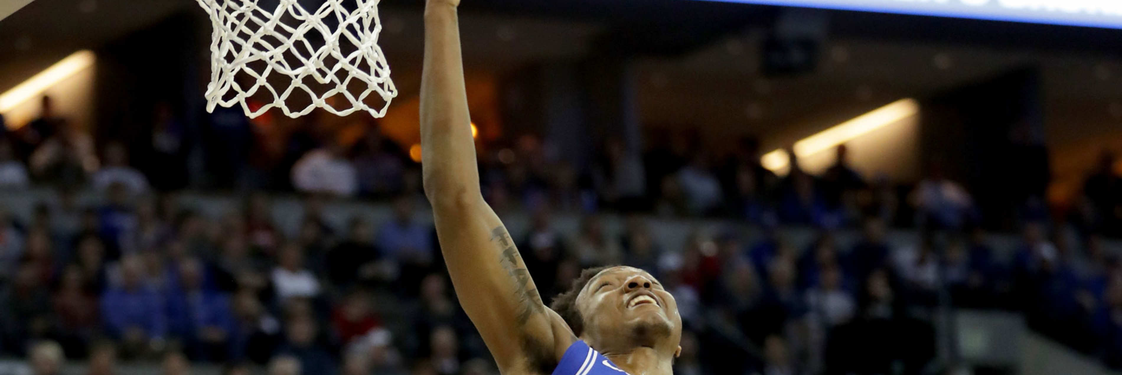 Wendell Carter Jr #34 of the Duke Blue Devils shoots the ball against the Kansas Jayhawks during the first half in the 2018 NCAA Men's Basketball Tournament Midwest Regional at CenturyLink Center on March 25, 2018 in Omaha, Nebraska.