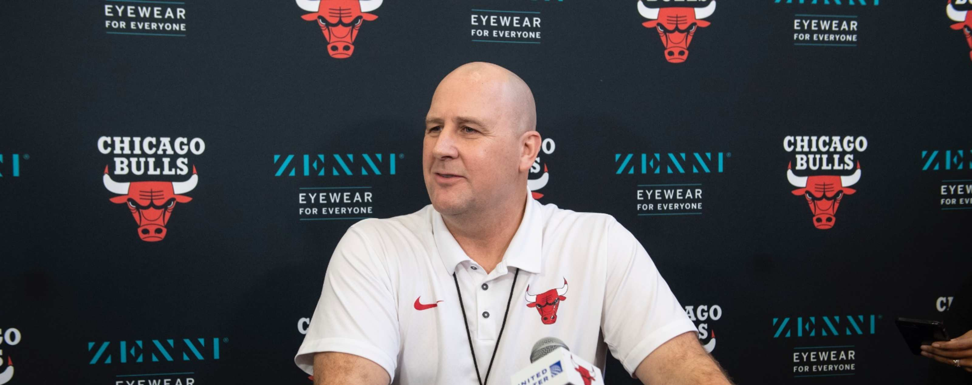 Jim Boylen speaks to the media
