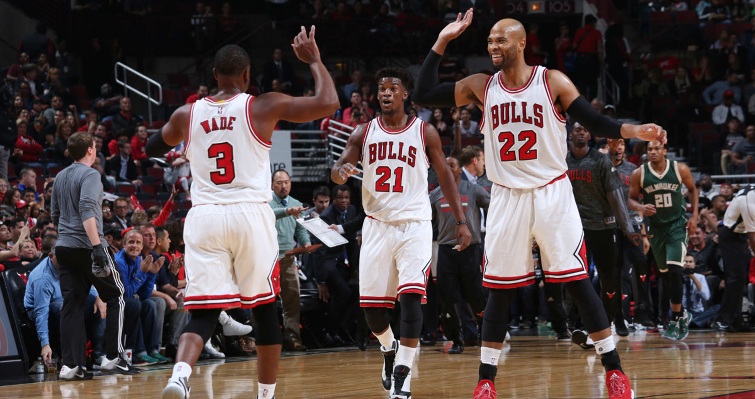 Dwyane Wade, Jimmy Butler, and Taj Gibson