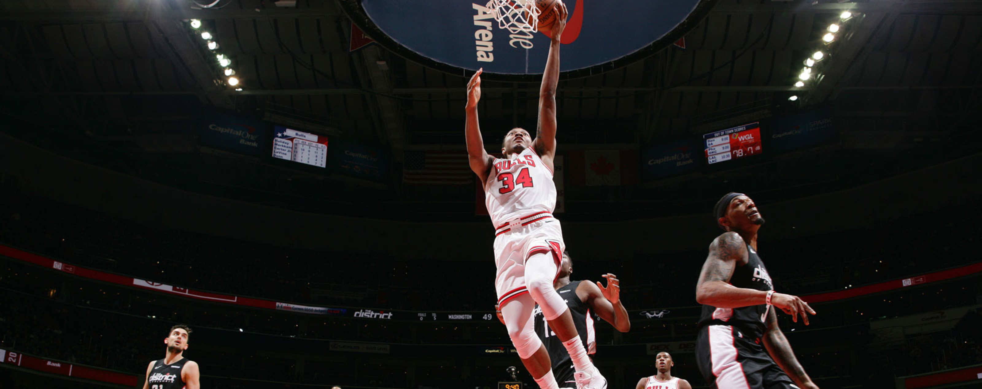 3437ff48186d Wendell Carter Jr.  34 of the Chicago Bulls shoots the ball against the  Washington