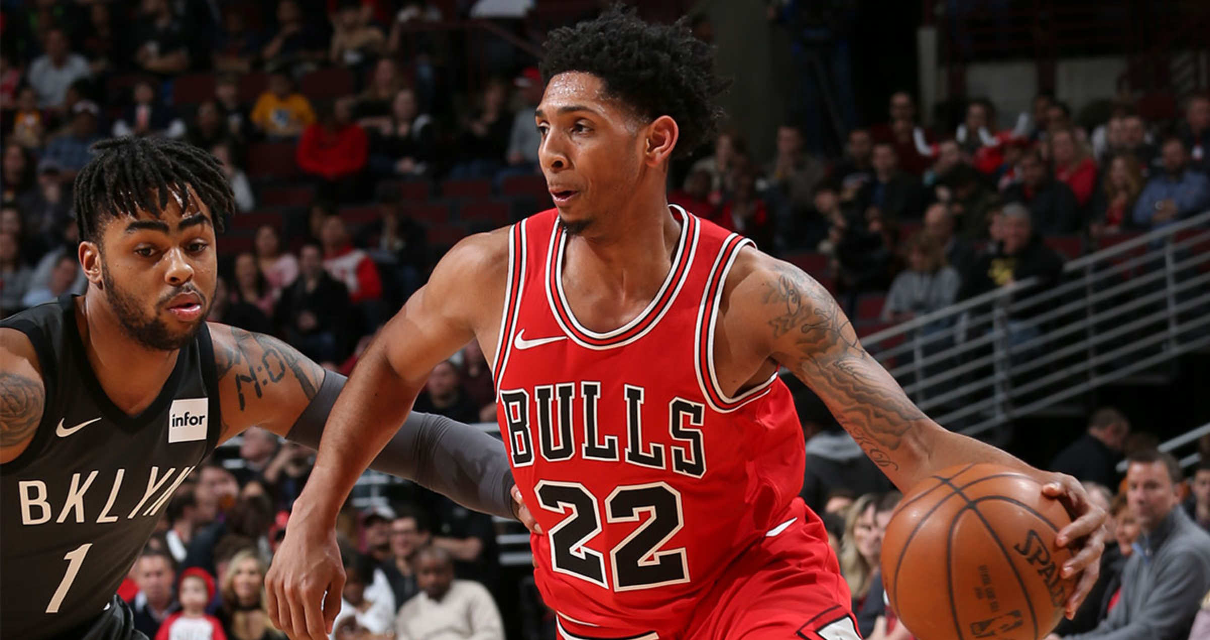 Cameron Payne #22 of the Chicago Bulls handles the ball against the Brooklyn Nets