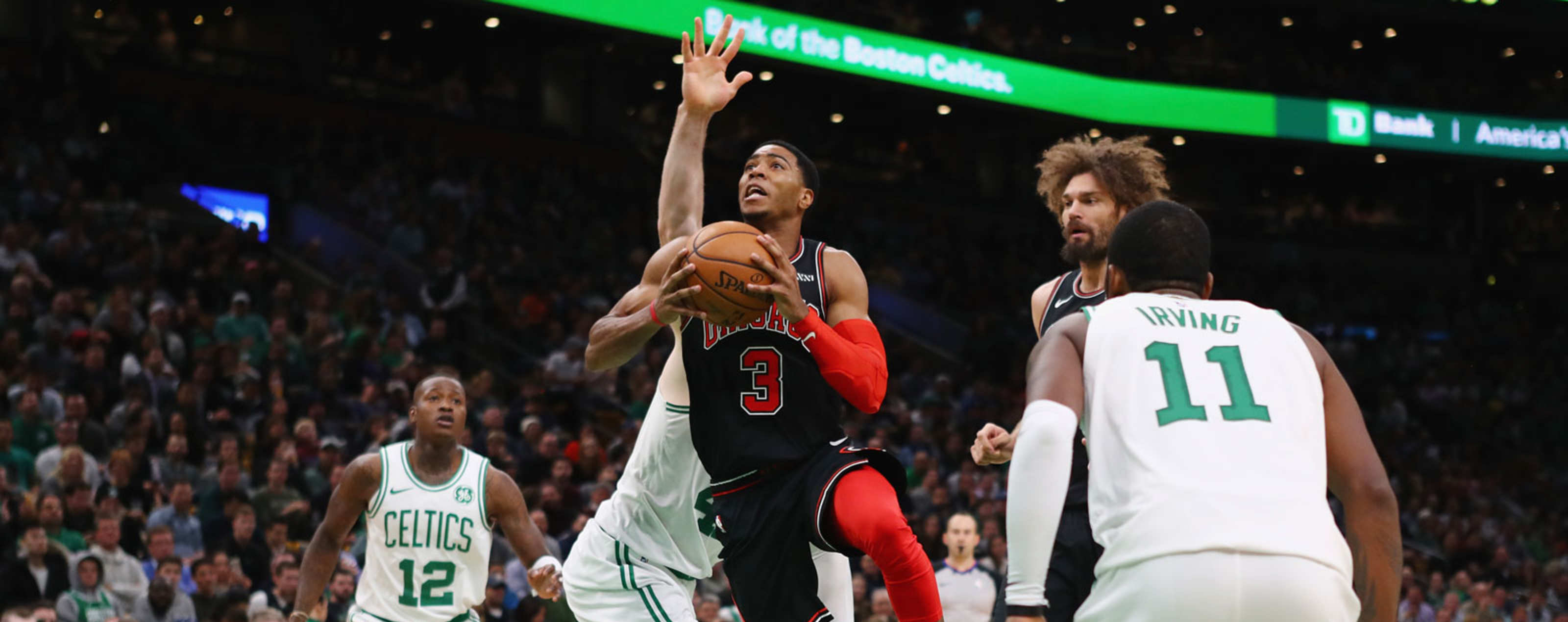 Shaquille Harrison #3 of the Chicago Bulls drives to the basket during the second half against the Boston Celtics at TD Garden on November 14, 2018 in Boston, Massachusetts.