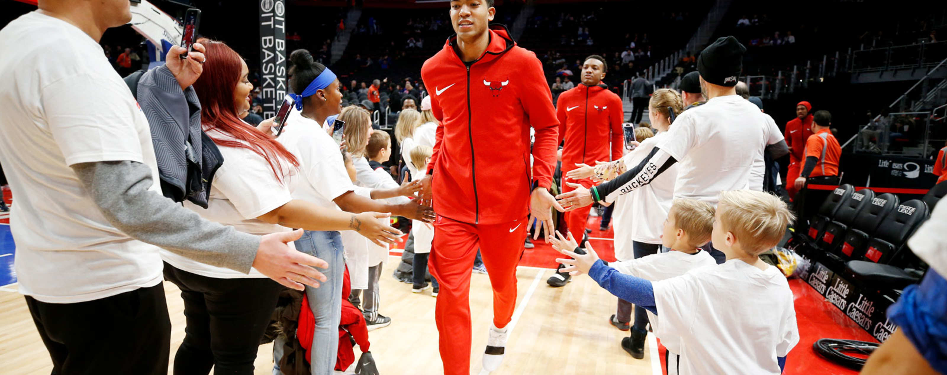 Chandler Hutchison #15 of the Chicago Bulls takes the floor for the game against the Denver Nuggets on November 27, 2018 at Little Caesars Arena in Detroit, Michigan.