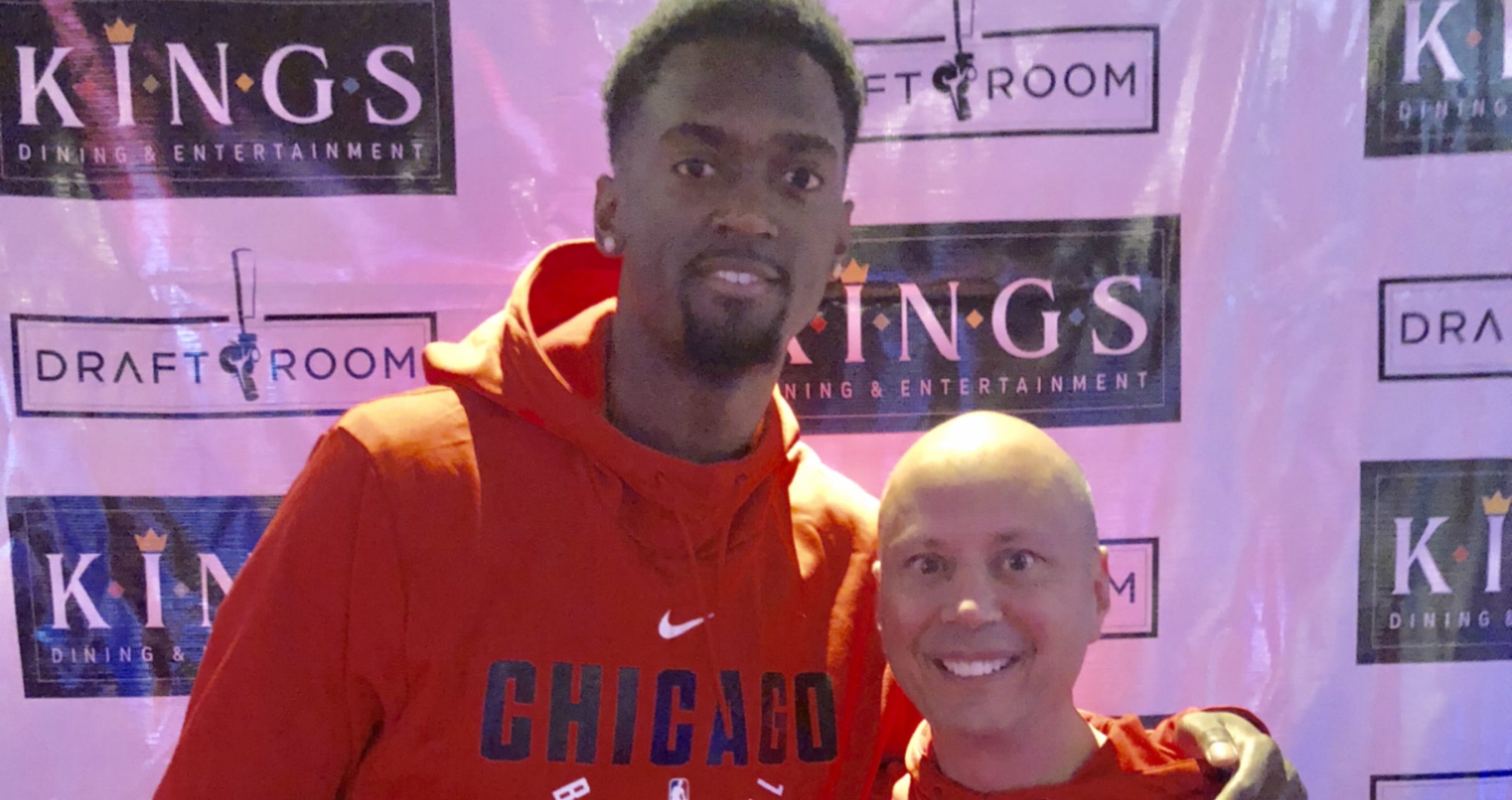 Bobby Portis and Chuck Swirsky at the Corporate Partnerships Bowling Event