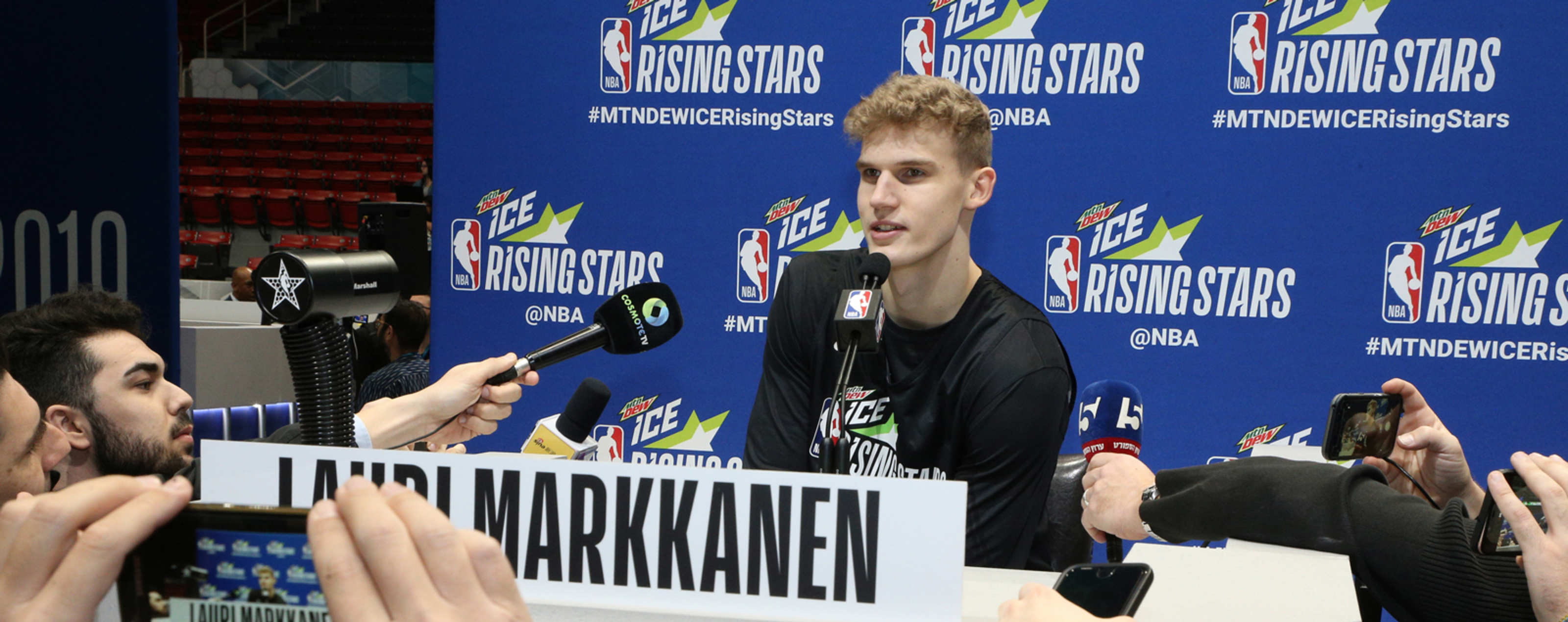 Lauri Markkanen #24 of the Chicago Bulls talks to the media during the 2019 NBA All-Star Rising Stars Practice and Media Availability on February 15, 2019 at Bojangles Coliseum in Charlotte, North Carolina.