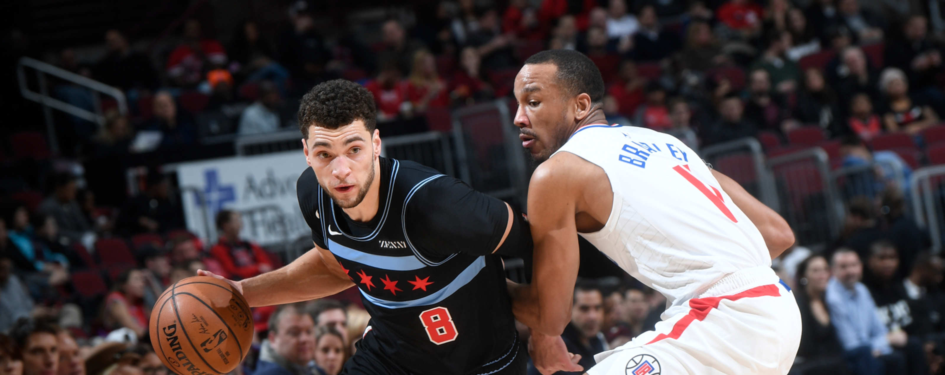 Zach LaVine dribbles the ball against the Los Angeles Lakers.