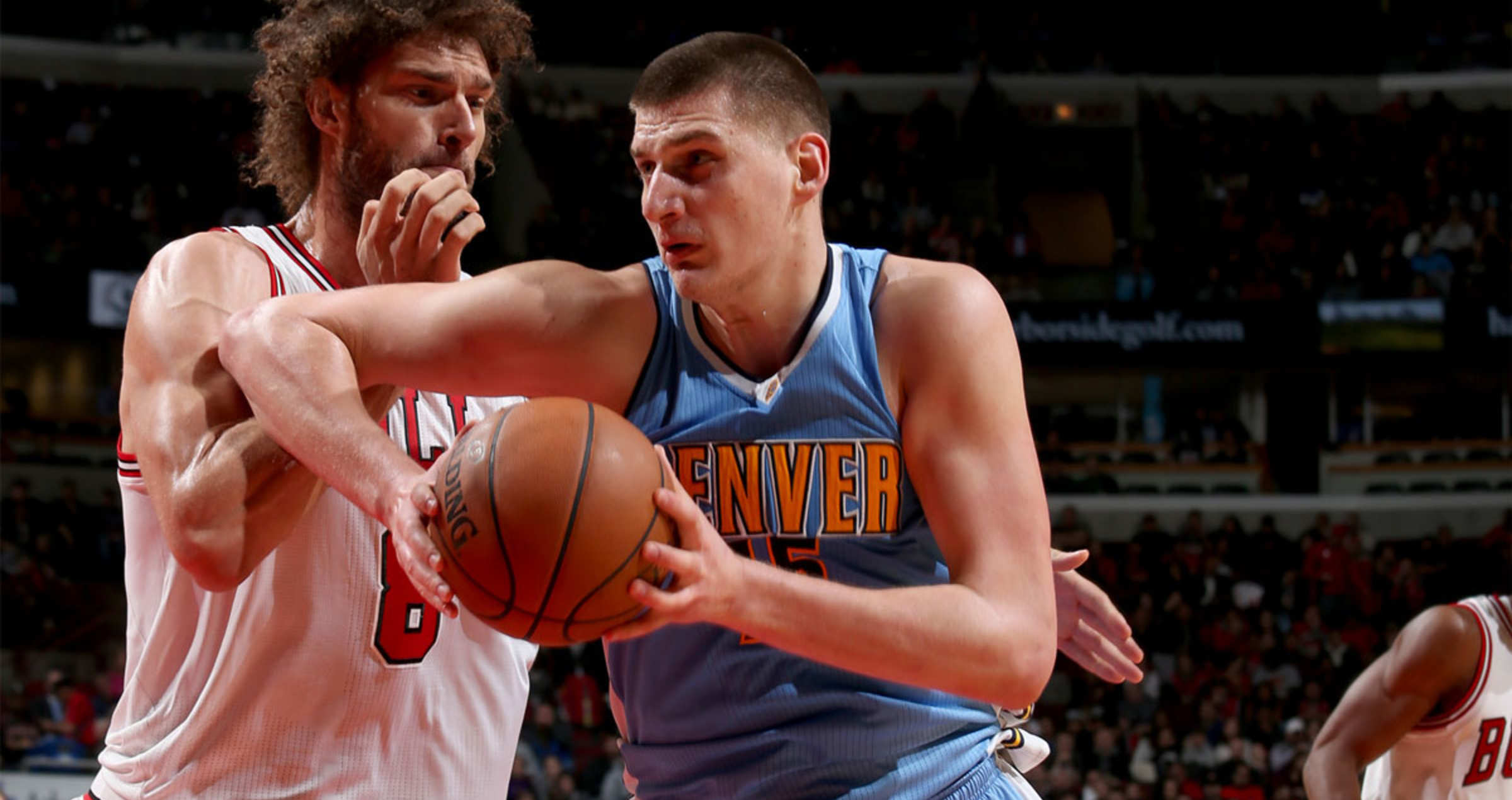 Nikola Jokic #15 of the Denver Nuggets goes to the basket against the Chicago Bulls on February 28, 2017 at the United Center in Chicago, Illinois.