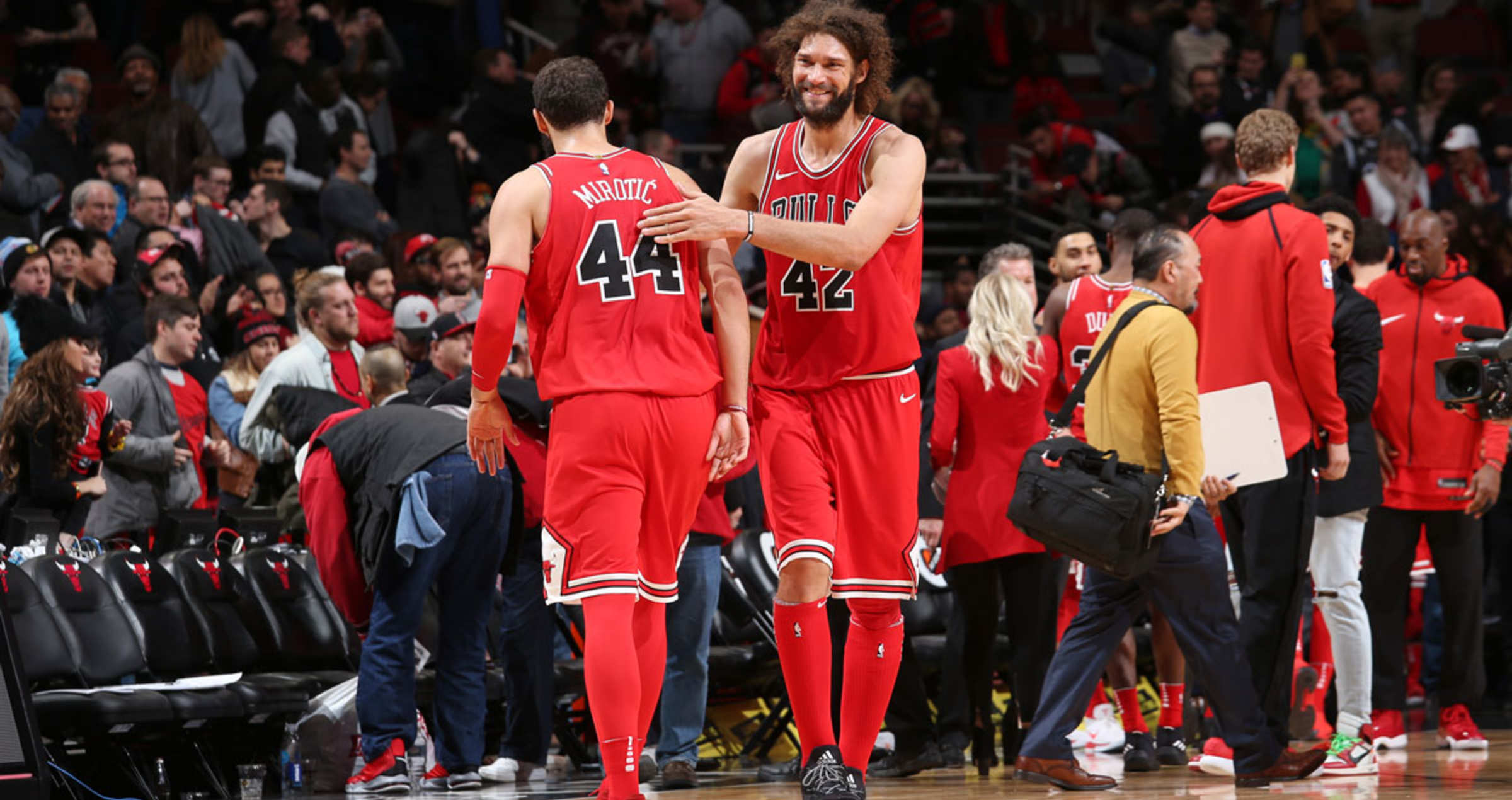Robin Lopez #42 of the Chicago Bulls celebrates a win against the Utah Jazz on December 13, 2017 at the United Center in Chicago, Illinois.