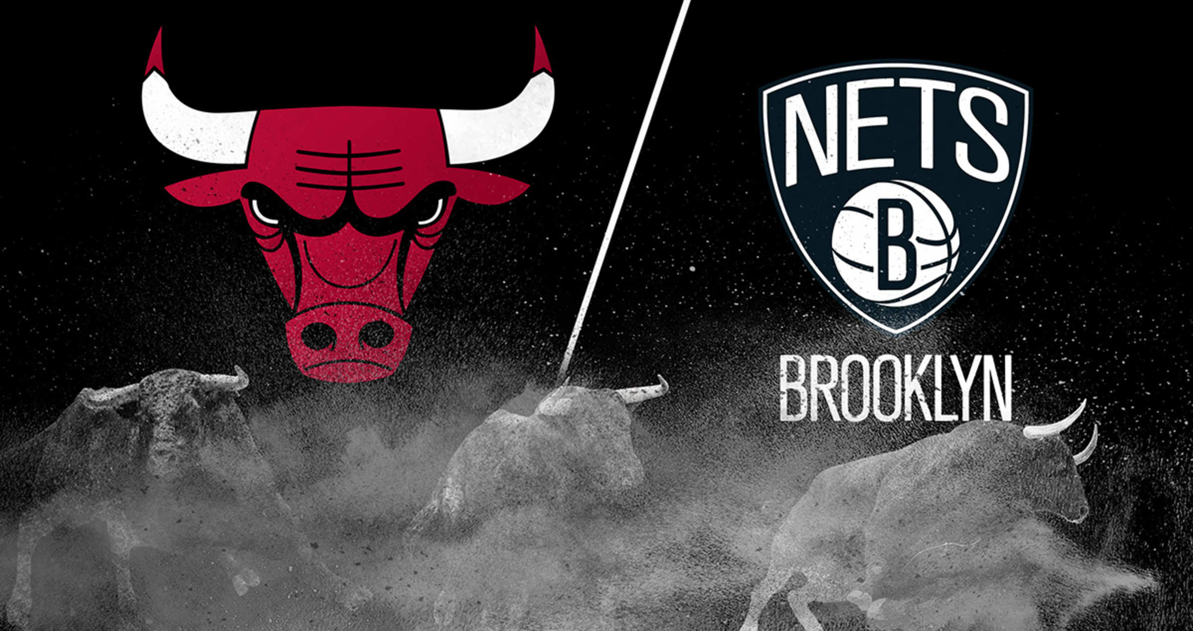 the Chicago Bulls and the Brooklyn Nets logos