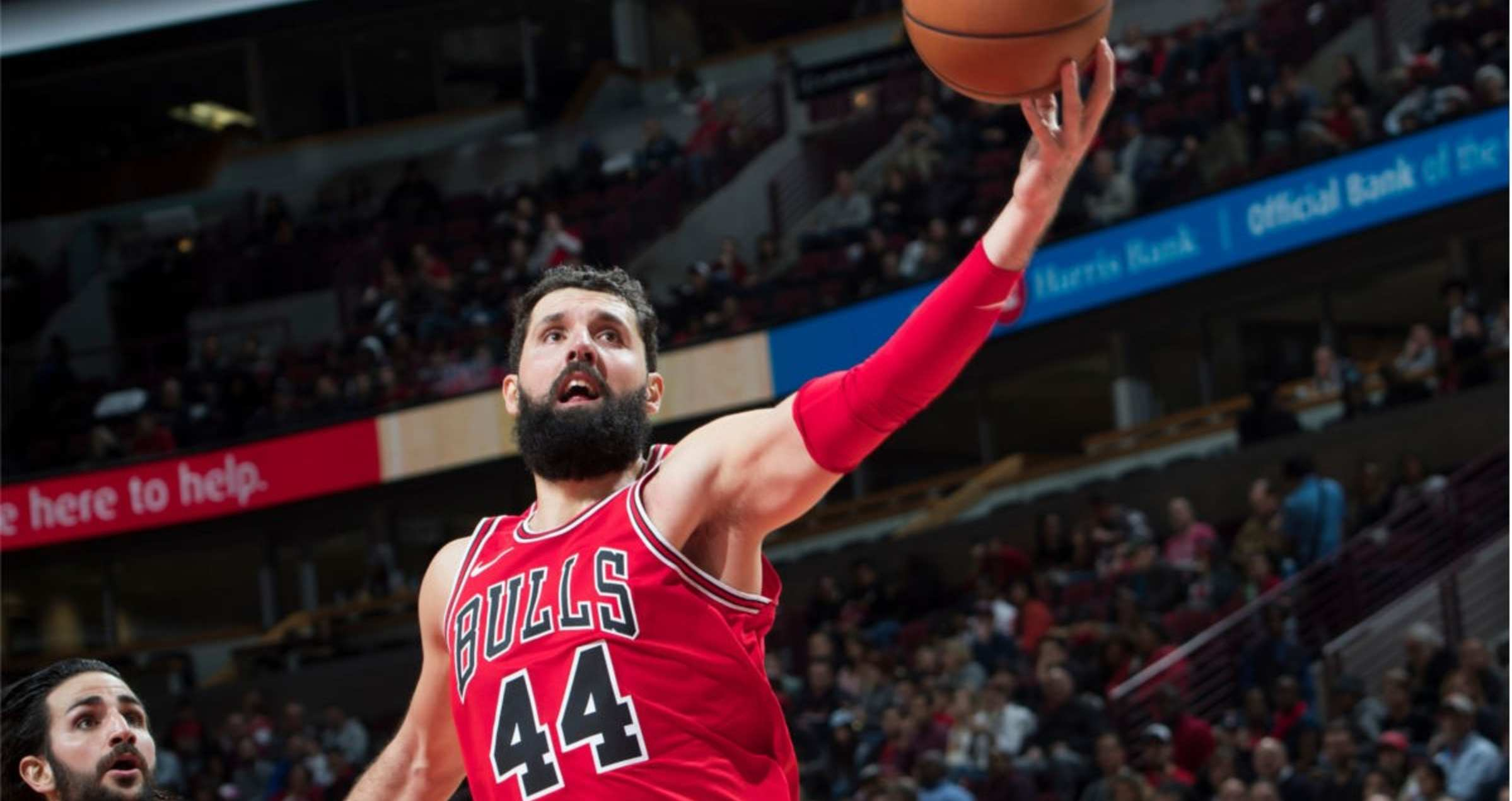 Nikola Mirotic #44 of the Chicago Bulls goes in for a layup