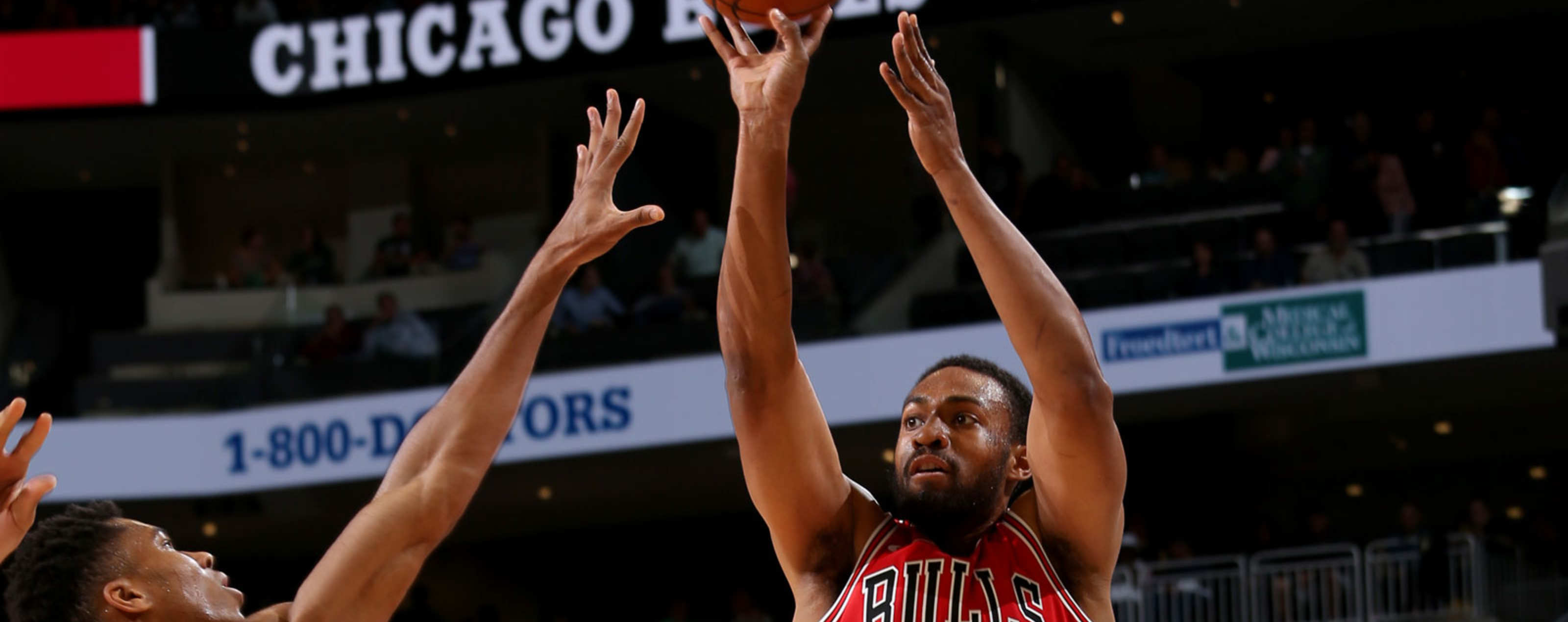Jabari Parker #2 of the Chicago Bulls shoots the ball against the Milwaukee Bucks during a pre-season game on October 3, 2018 at Fiserv Forum, in Milwaukee, Wisconsin.