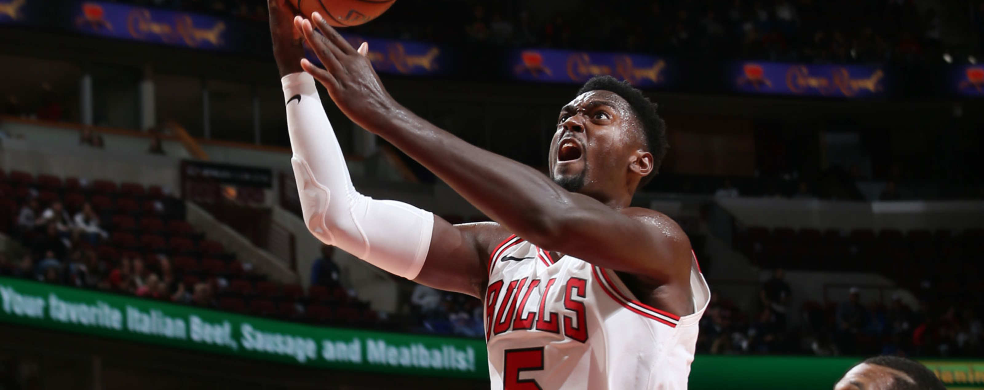 obby Portis #5 of the Chicago Bulls handles the ball against the New Orleans Pelicans during a pre-season game on September 30, 2018 at the United Center in Chicago, Illinois.