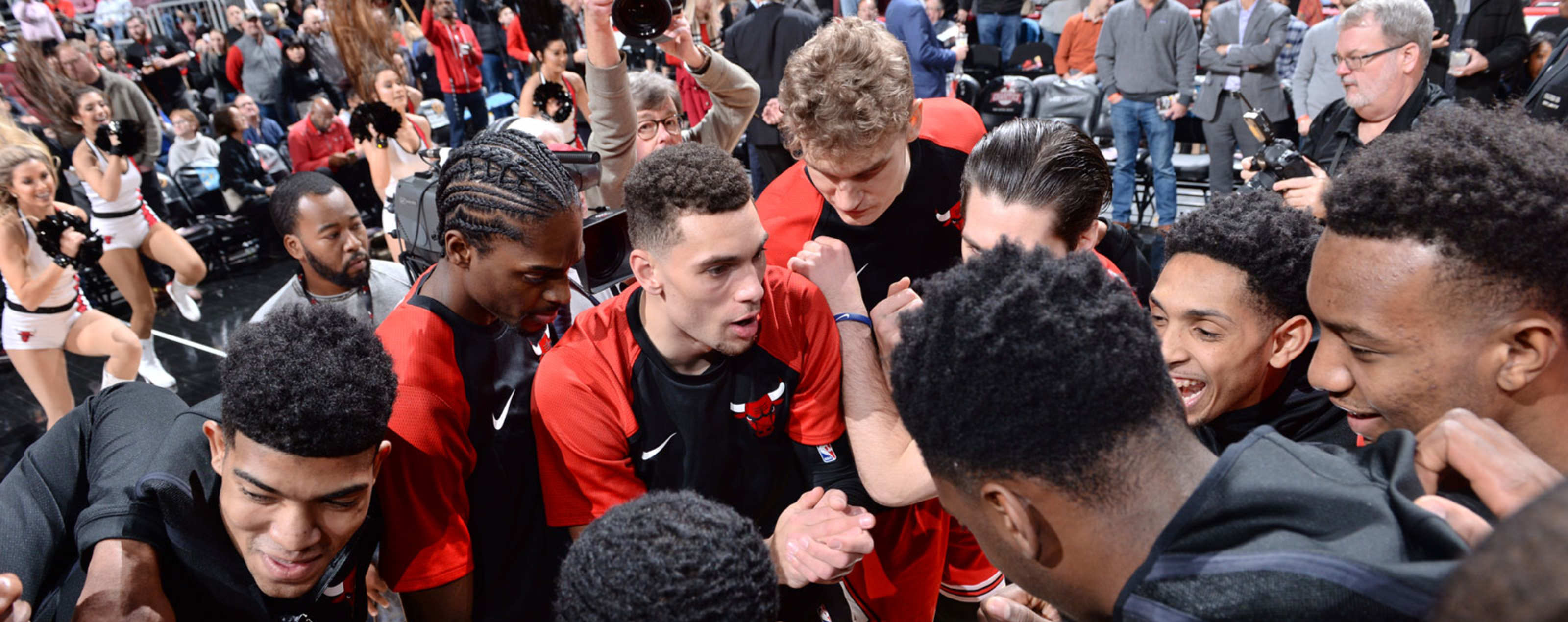 The Chicago Bulls huddle before a game against the Sacramento Kings.