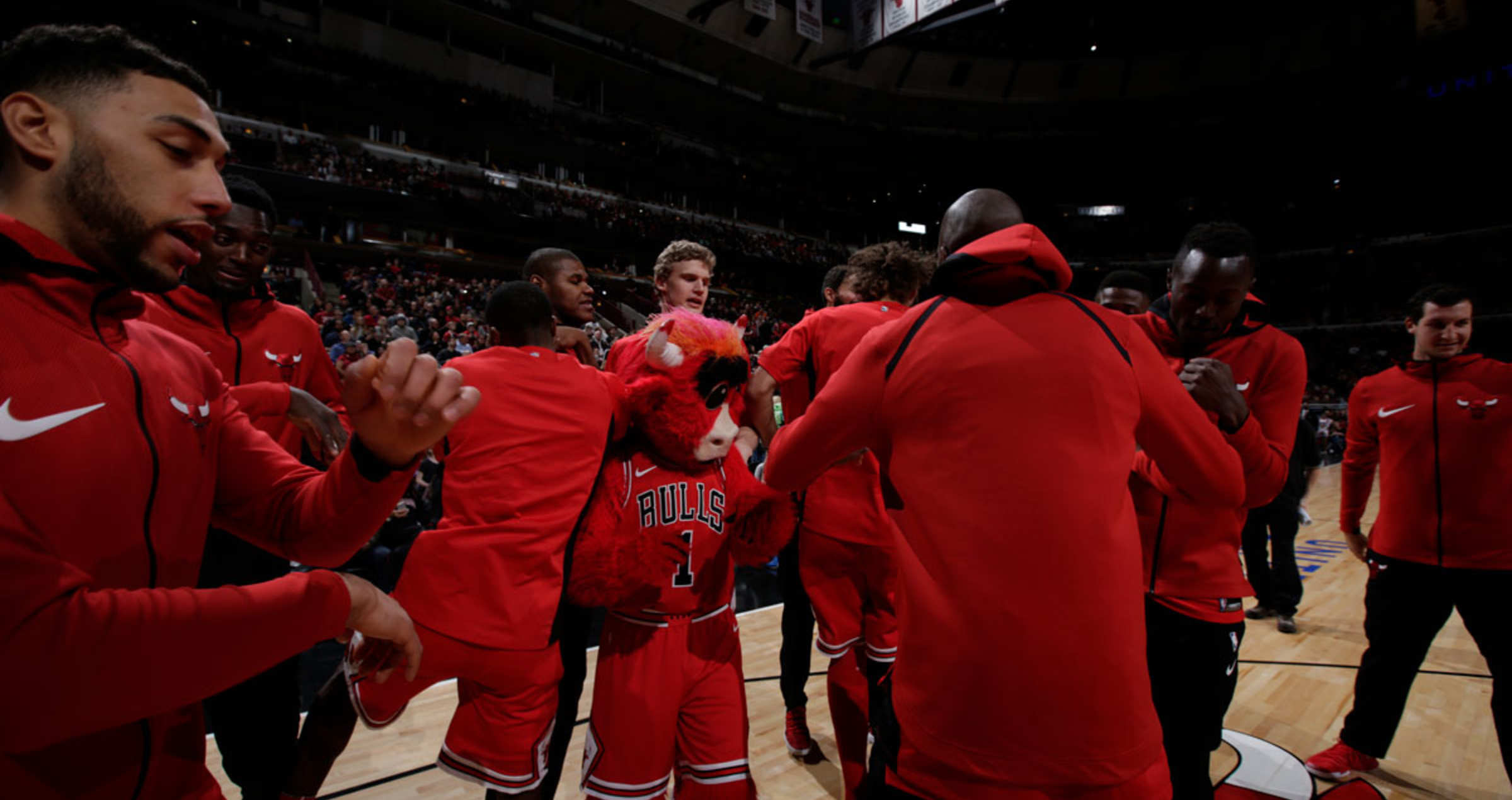 The Chicago Bulls huddles as a team before the game.