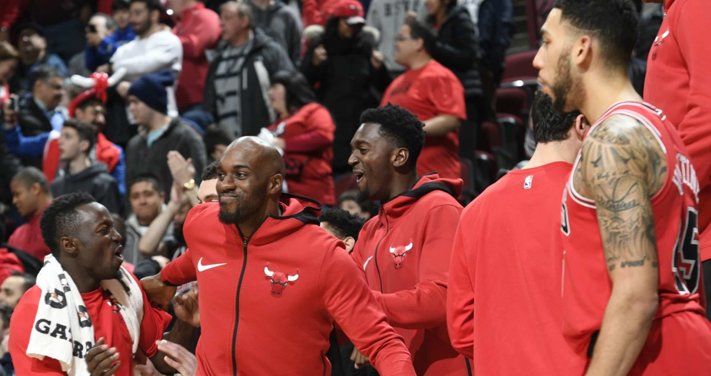 Bench reacts at the United Center against the Knicks on December 27th, 2017.