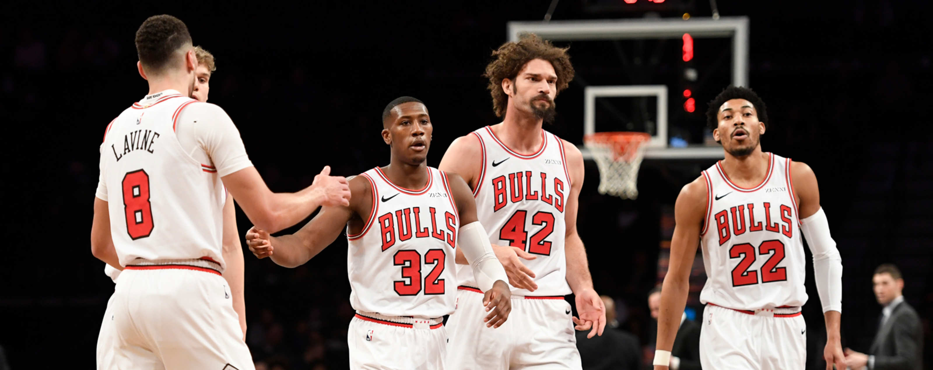 The Chicago Bulls react during a timeout during the first half of the game against the Brooklyn Nets at Barclays Center on February 08, 2019 in the Brooklyn borough of New York City.