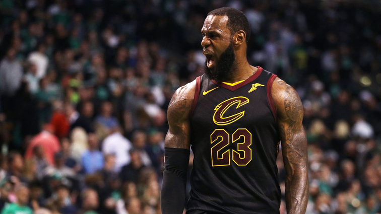 LeBron James #23 of the Cleveland Cavaliers reacts during Game Seven of the 2018 NBA Eastern Conference Finals against the Boston Celtics at TD Garden on May 27, 2018 in Boston, Massachusetts.