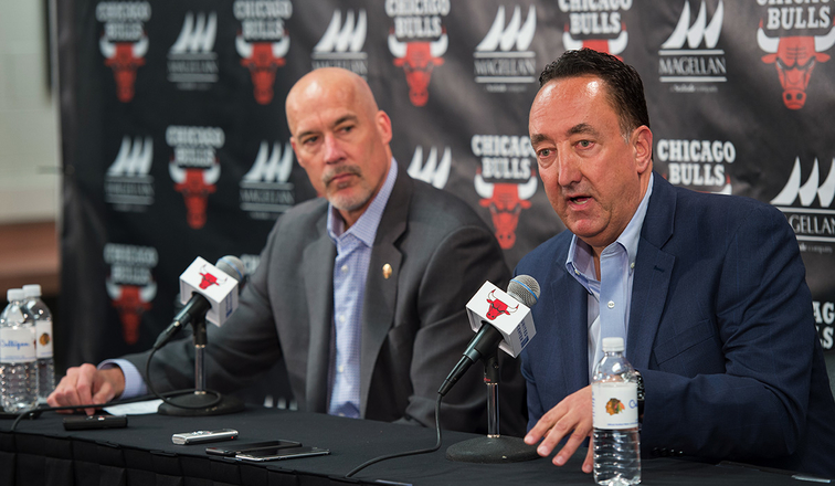Gar Forman and John Paxson addressing the media