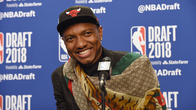 Wendell Carter Jr. speaks to the media after being selected seventh overall by the Chicago Bulls at the 2018 NBA Draft on June 21, 2018 at the Barclays Center in Brooklyn, New York.