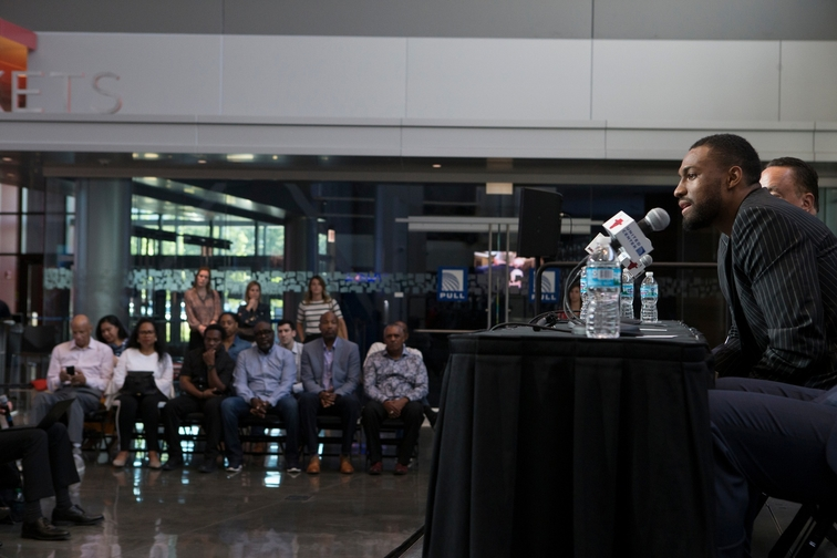 Jabari Parker speaks at a Press Conference at the United center with John Pasxon, Gar Forman, and Fred Hoiberg