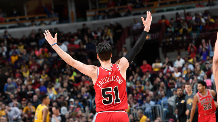 Ryan Arcidiacono celebrates a play against the Los Angeles Lakers.