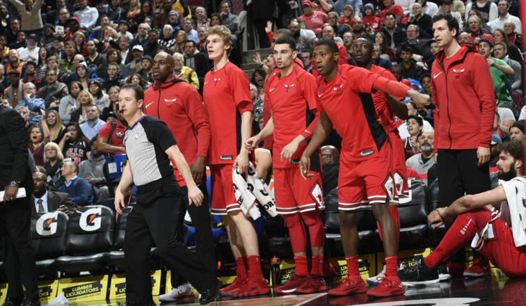 Bench looks at the action during the Bulls Vs. Warriors game on Wednesday night.