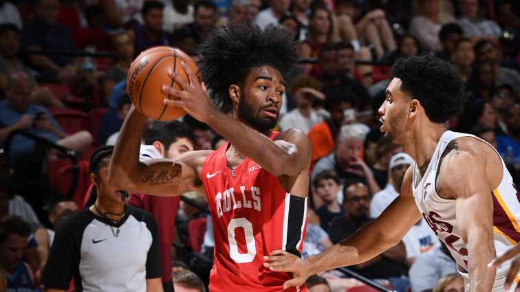 Coby White goes up against the Cleveland Cavaliers in the 2019 NBA Summer League