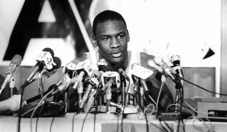 Michael Jordan meets the media during his North Carolina days