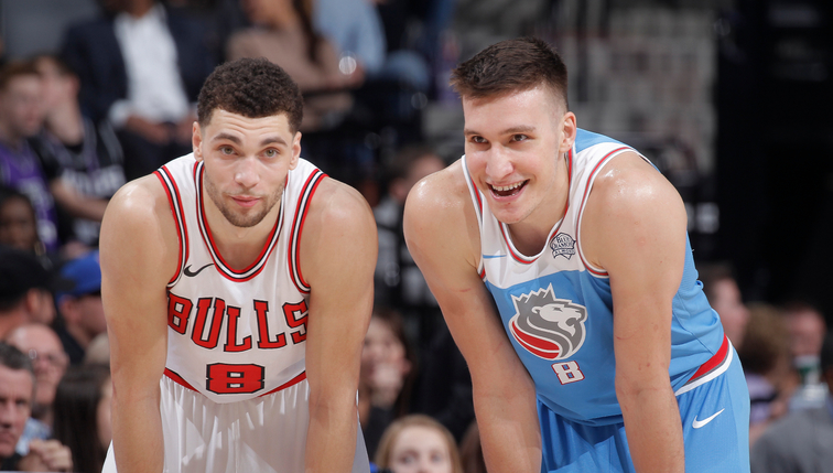 Zach Lavine #8 of the Chicago Bulls faces off against Bogdan Bogdanovic #8 of the Sacramento Kings on February 5, 2018 at Golden 1 Center in Sacramento, California.