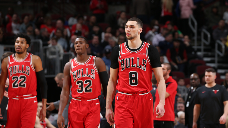 Chicago Bulls player Zach LaVine walks on the court.