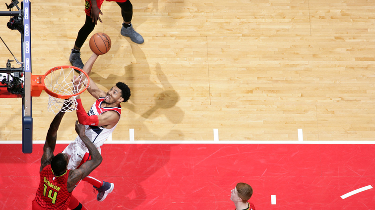 Otto Porter Jr. #22 of the Washington Wizards goes to the basket against the Atlanta Hawks on February 4, 2019 at Capital One Arena in Washington, DC.