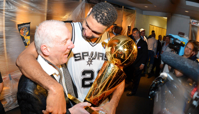 Tim Duncan and Gregg Popovich