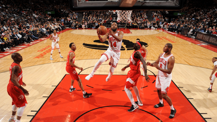 Wayne Selden #14 of the Chicago Bulls goes to the basket against the Toronto Raptors on March 26, 2019 at the Scotiabank Arena in Toronto, Ontario, Canada