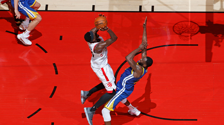 Pascal Siakam #43 of the Toronto Raptors shoots the ball against the Golden State Warriors during Game One of the NBA Finals on May 30, 2019 at Scotiabank Arena in Toronto, Ontario, Canada.