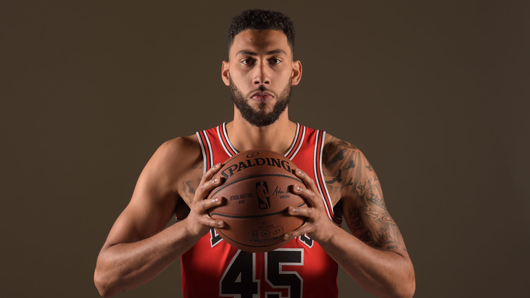 Denzel Valentine #45 of the Chicago Bulls poses for a portrait at media day on September 24, 2018 at the United Center in Chicago, Illinois.
