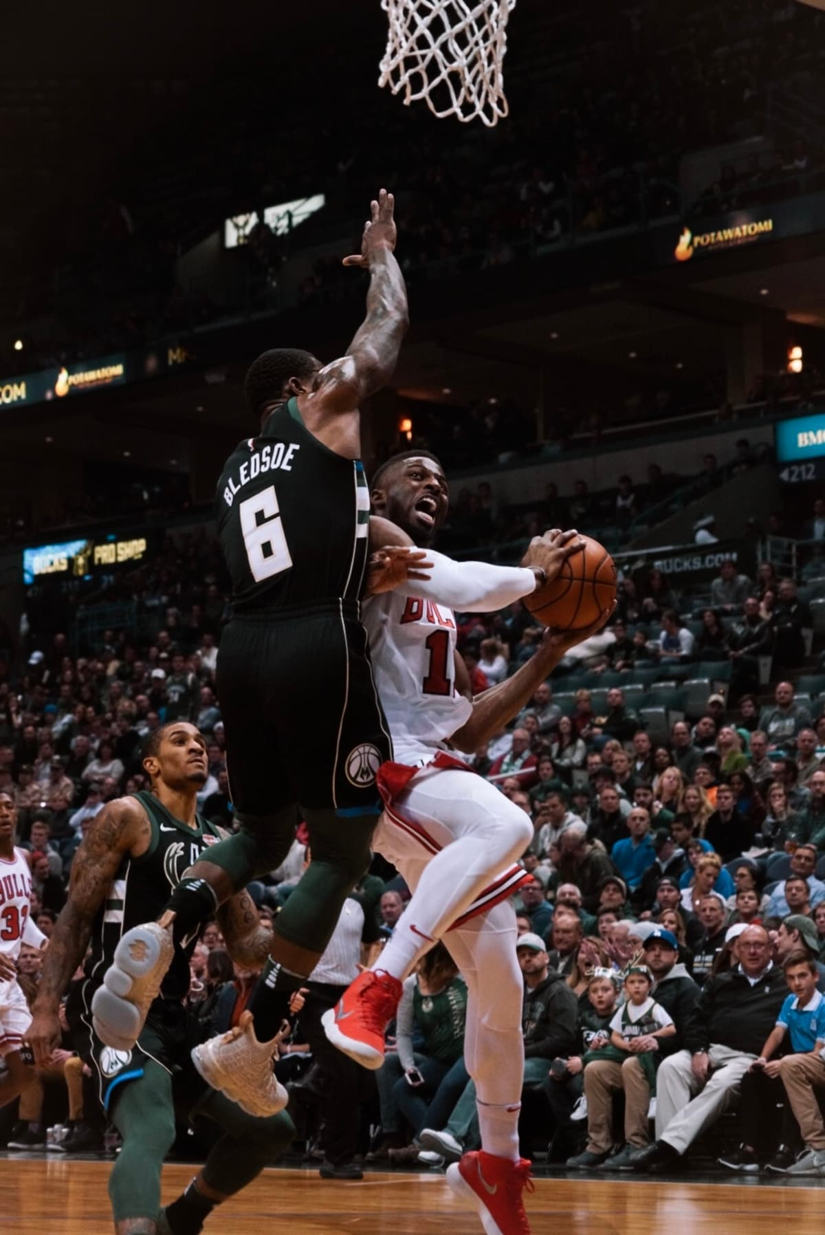 David Nwaba with the layup attempt at the BMO Harris Bradley Center on December 15th, 2017.