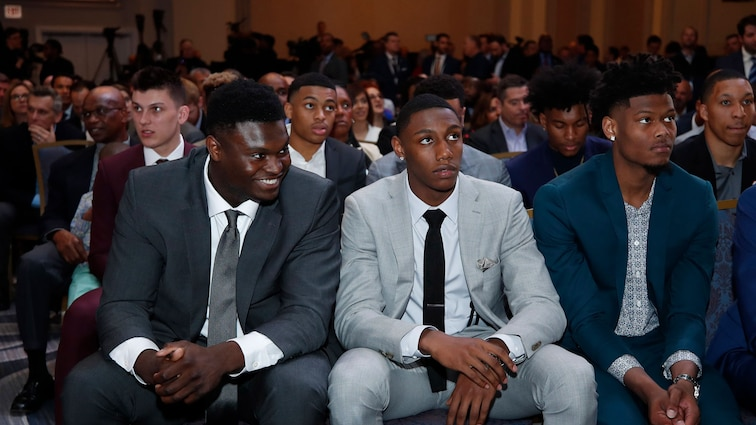 NBA Draft Prospects Zion Williamson, Cam Reddish and RJ Barrett look on at the 2019 NBA Draft Lottery on May 14, 2019 at the Chicago Hilton in Chicago, Illinois.