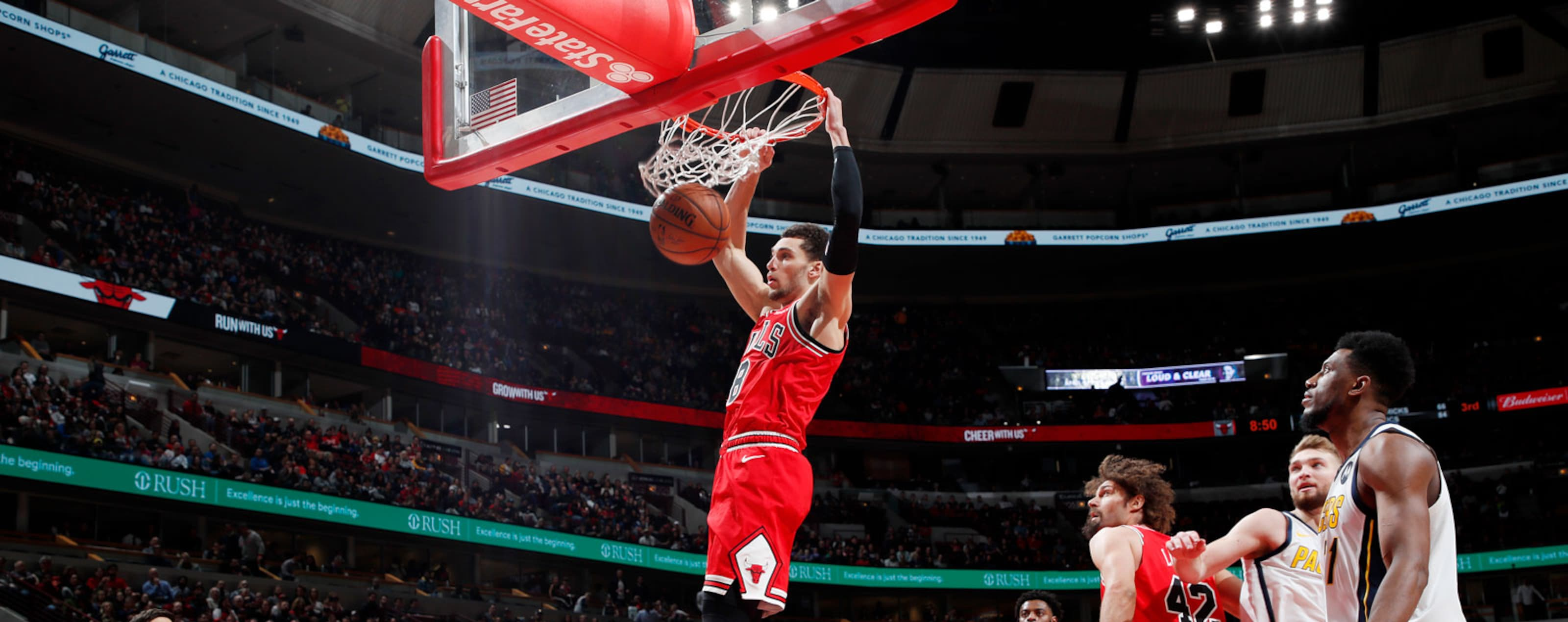 Zach LaVine #8 of the Chicago Bulls drives to the basket against the Indiana Pacers on January 4, 2019 at United Center in Chicago, Illinois.