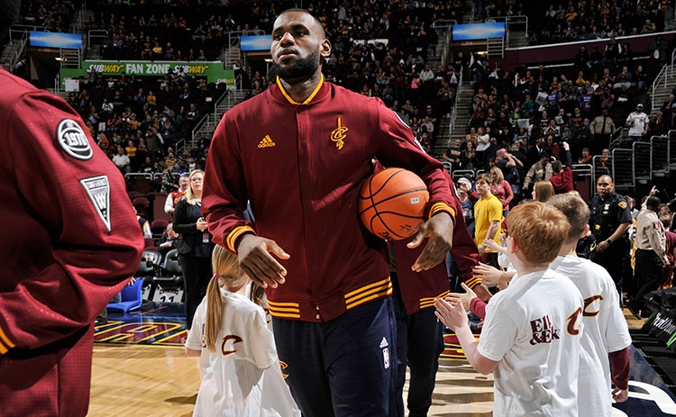 72b33bccb39b LeBron James  23 of the Cleveland Cavaliers is introduced before the game  against the Milwaukee