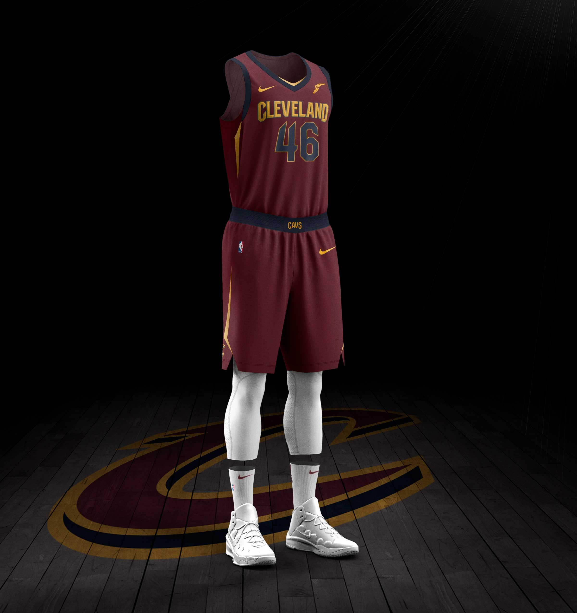 "The navy waistband on the shorts showcases the word ""CAVS"" front and  center. The new uniforms feature Nike's ..."