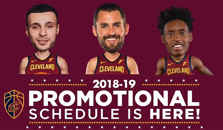 picture relating to Cleveland Cavaliers Printable Schedule named 2018-19 Advertising and Topic Night time Agenda Cleveland